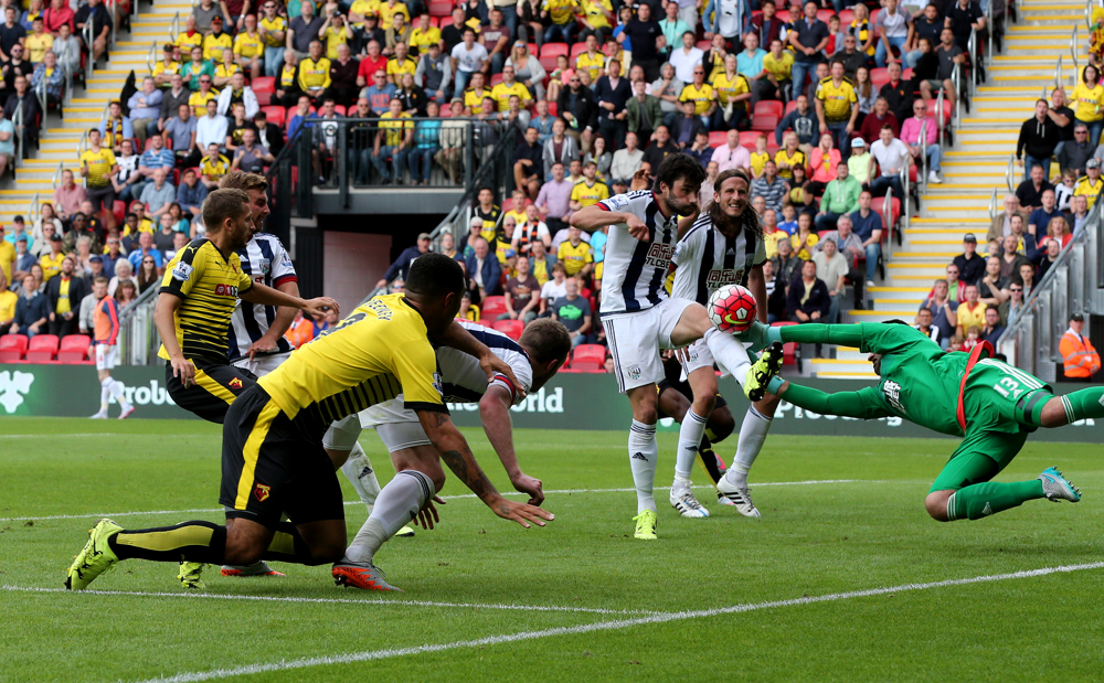 Troy Deeney watches as a ball into the box is cut out. Pictures: Holly Cant