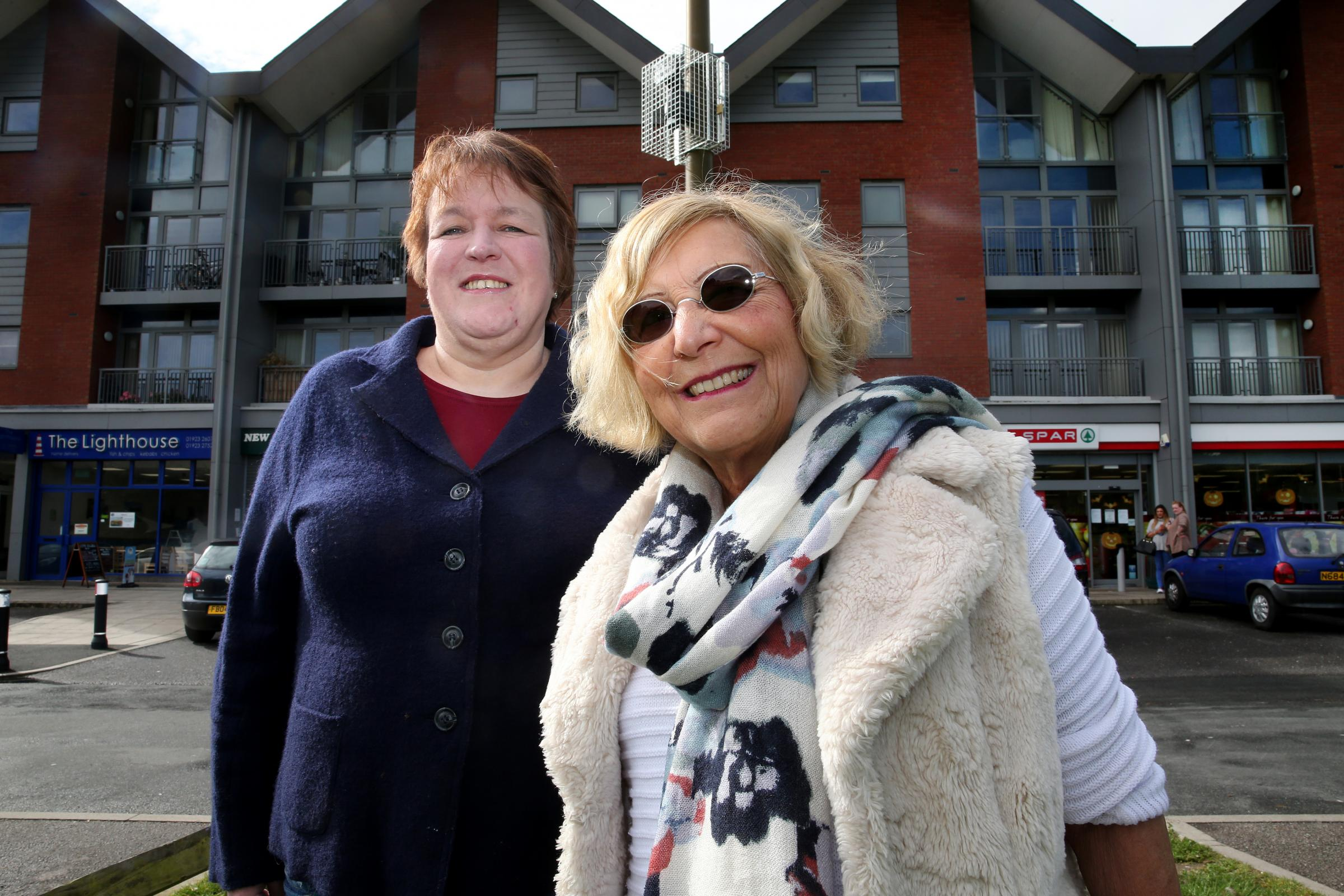 Abbots Langley Councillors Sara Bedford and Joy Mann with the new CCTV cameras