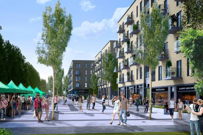 An artist's impression of what South Oxhey could look like