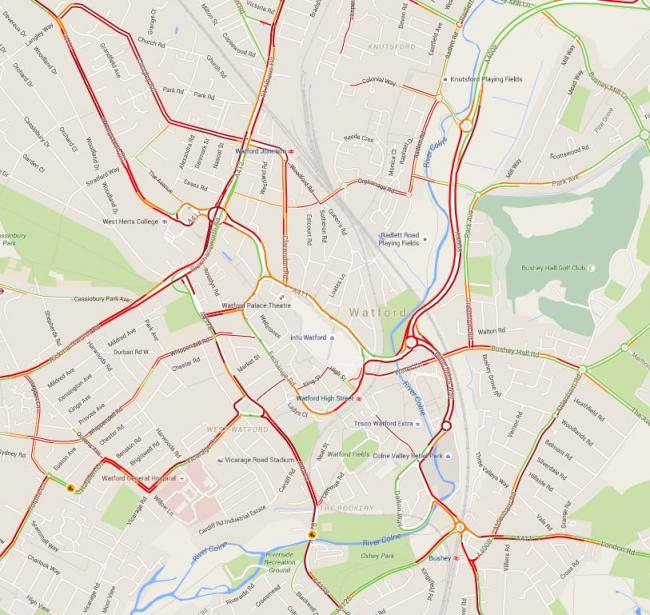 Google Maps showing Live traffic conditions in Watford