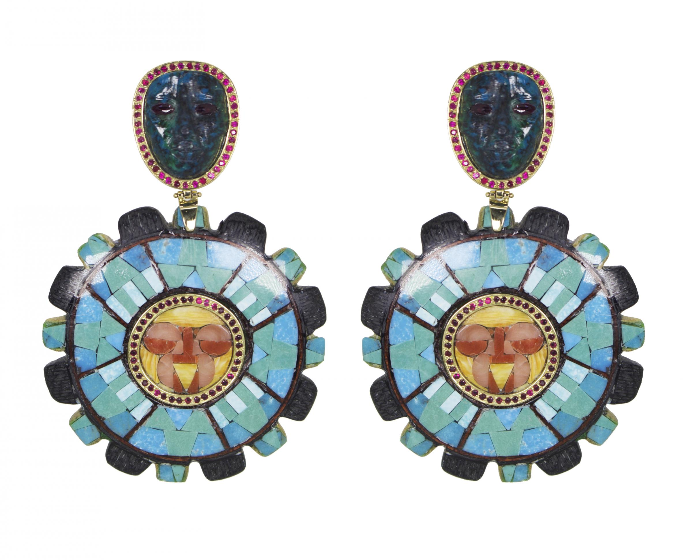 Blaiz, turquoise mask mosaic earrings, £2,500