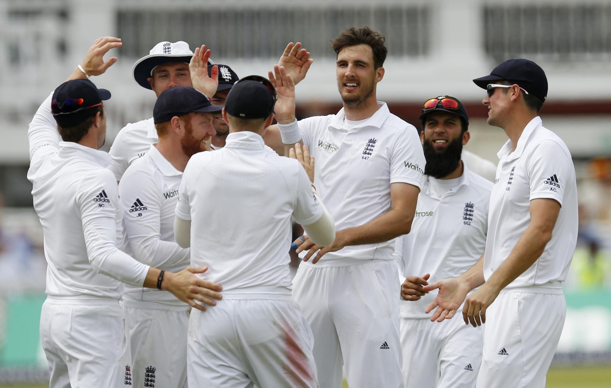 Steven Finn after taking a wicket in the final test versus Sri Lanka. Picture: Action Images