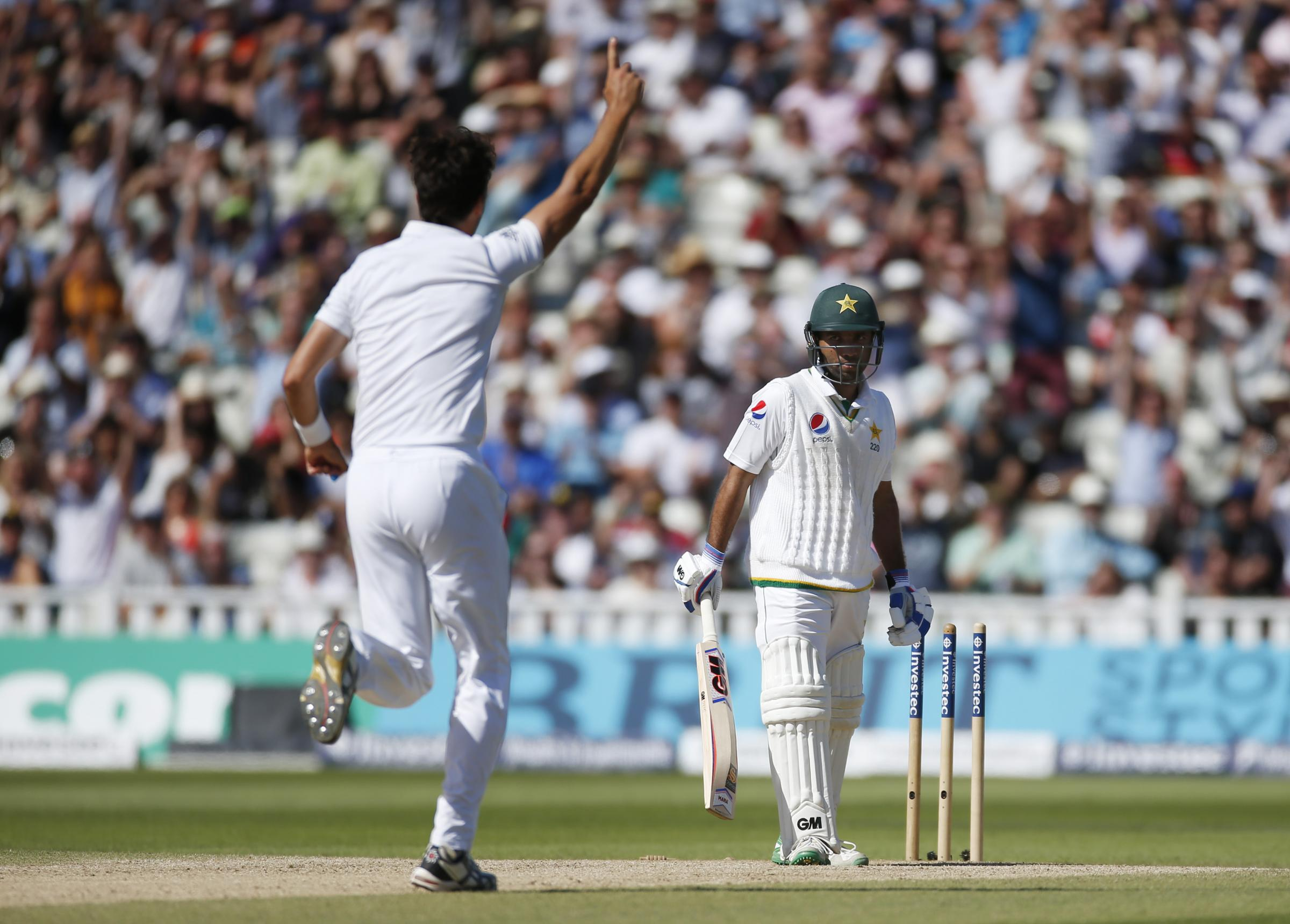 Steven Finn celebrates after bowling Sami Aslam. Picture: Action Images
