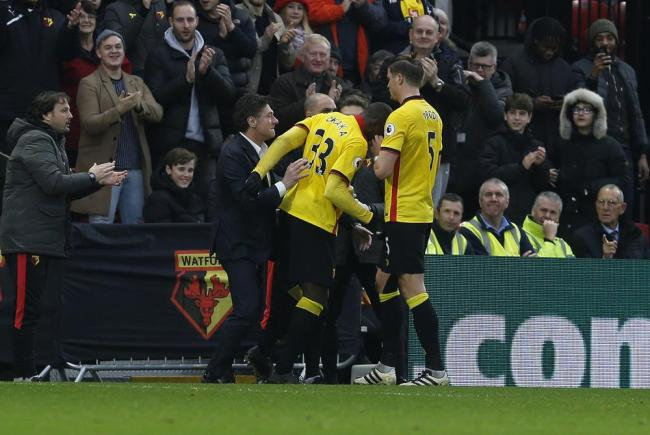 Watford celebrate scoring during the win over Everton: Holly Cant