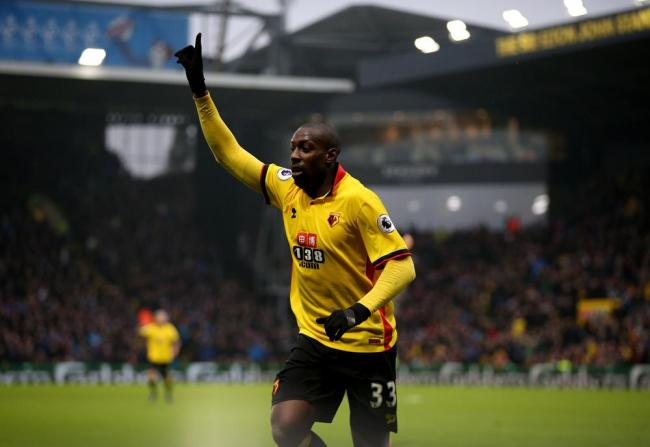 Stefano Okaka celebrates his brace in Watford's victory: Holly Cant