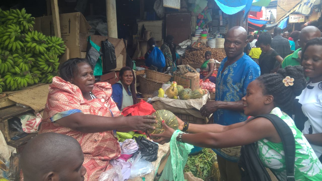 Food items being donated by traders in the Owino Market