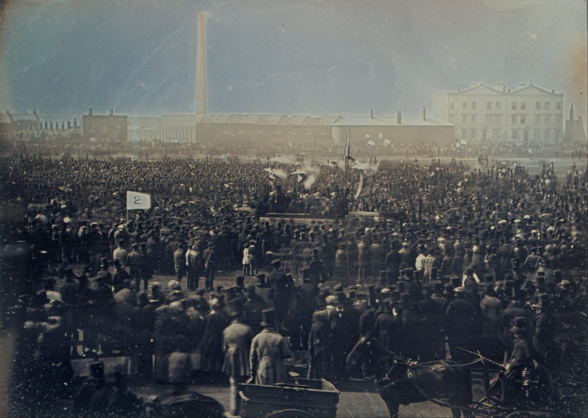 A photograph of the Great Chartist Meeting on Kennington Common in 1848