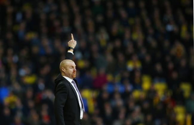 Pointing the way: Sean Dyche at Vicarage Road this afternoon. Picture: Action Images