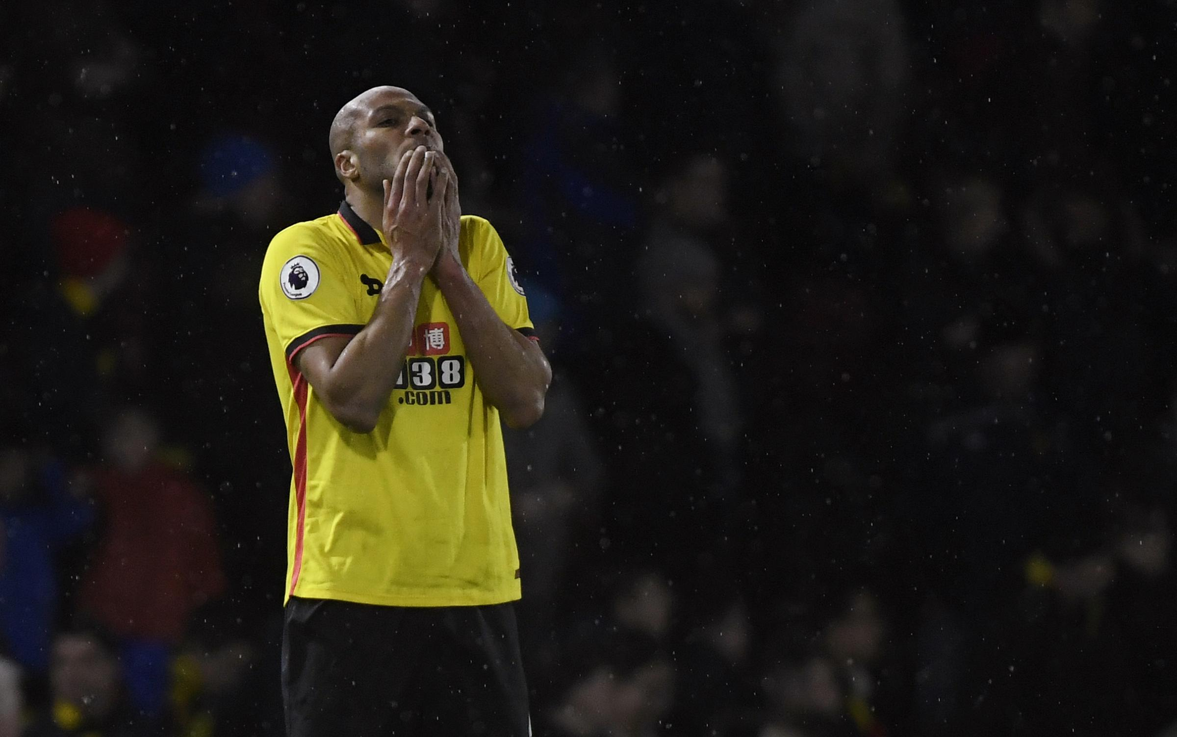Younes Kaboul looks dejected after West Ham equalise against Watford yesterday. Picture: Action Images