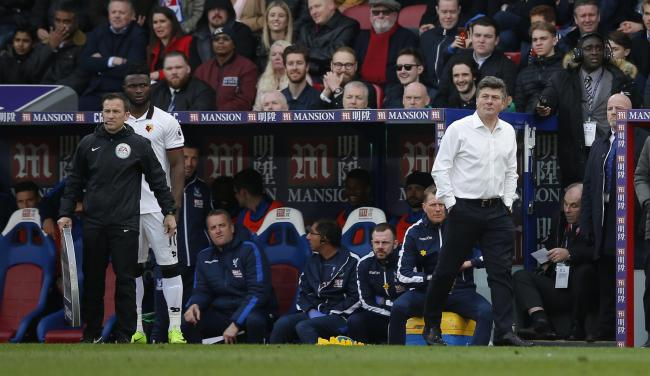 Isaac Success waits to enter the fray against Crystal Palace - but only earned a 10-minute cameo at Selhurst Park. Picture: Action Images