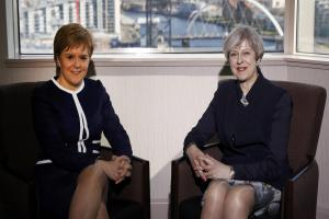 Theresa May and Nicola Sturgeon at odds over second Scottish independence poll