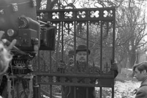 A BBC camera team films a scene for Sherlock Holmes in Bushey
