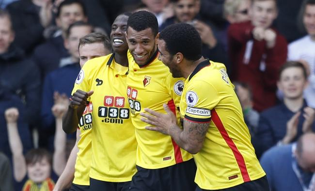 Etienne Capoue celebrates scoring what proved to be the winner. Picture: Action Images