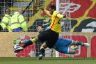 Etienne Capoue scores to secure Watford's win against Swansea in April. Picture: Action Images