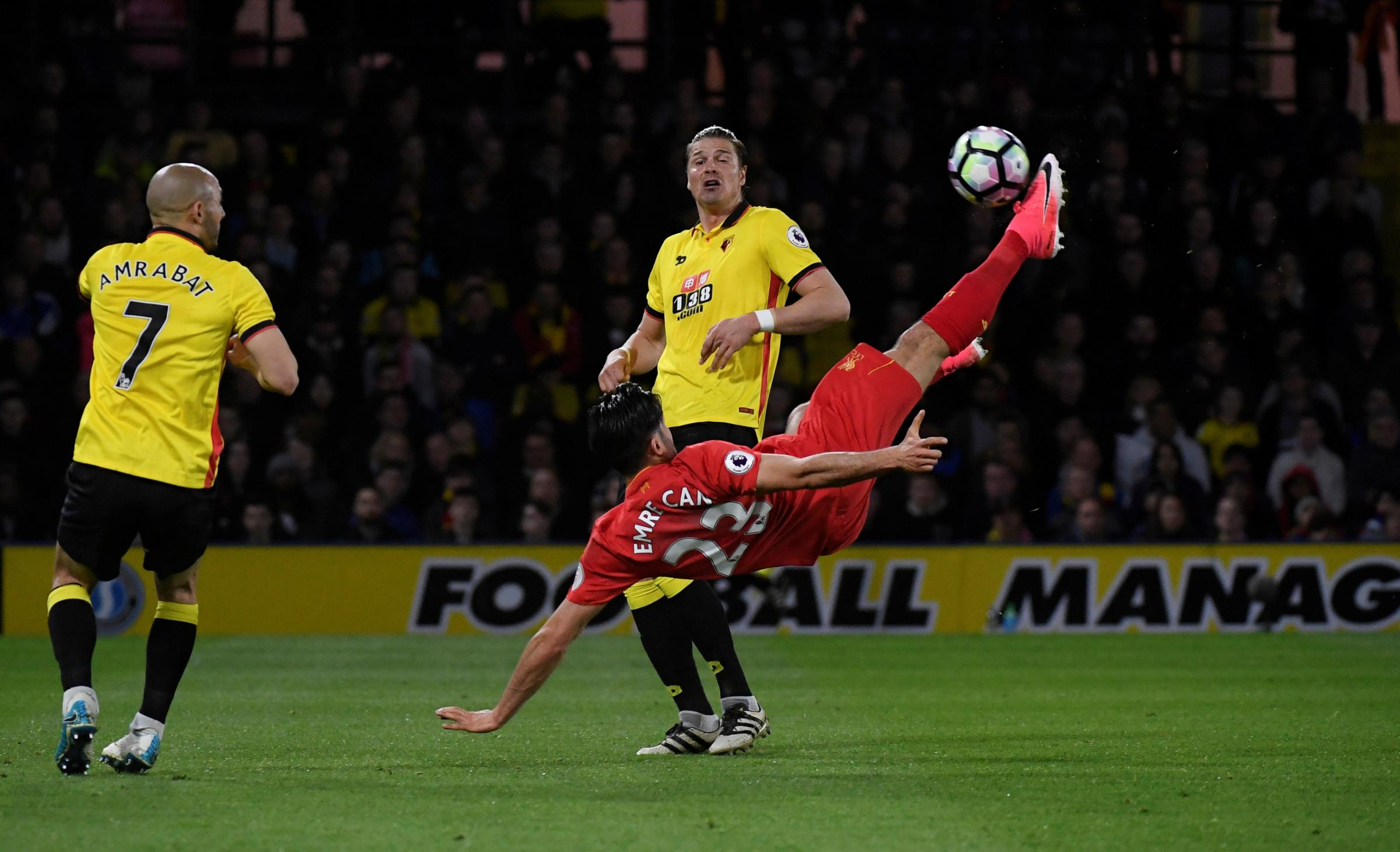 Emre Can scores his wonderful goal. Picture: Action Images