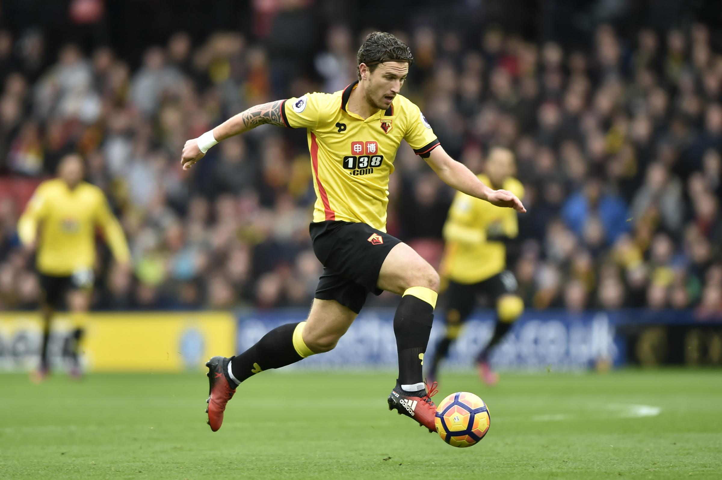 Daryl Janmaat put in a solid display in defence for the Hornets against Liverpool. Picture: Action Images