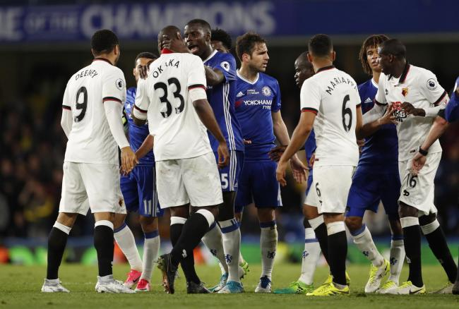 Tempers flared at the end of a dramatic match at Stamford Bridge. Picture: Action Images