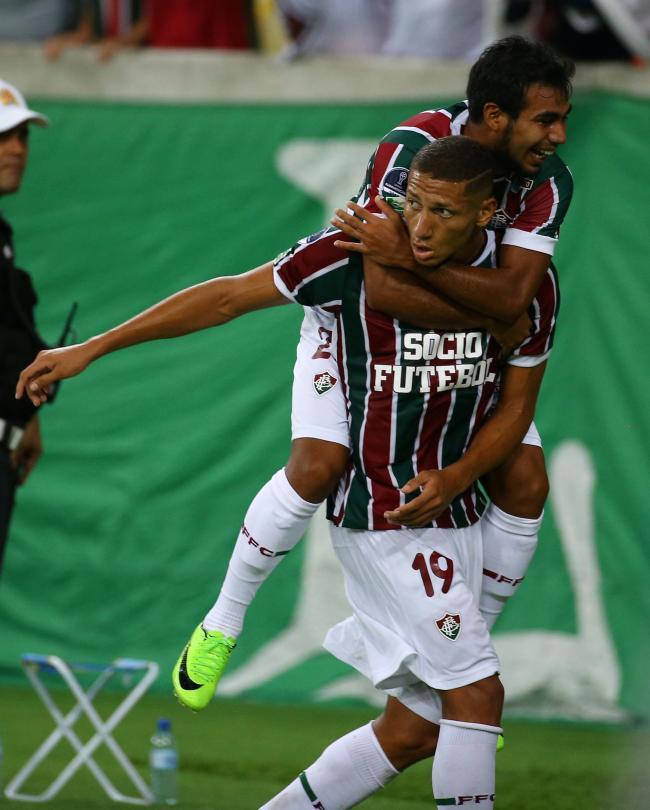 Richarlison (bottom) scoring in this year s Copa Sudamericana for Fluminense.  Picture  Action e695753d0a396