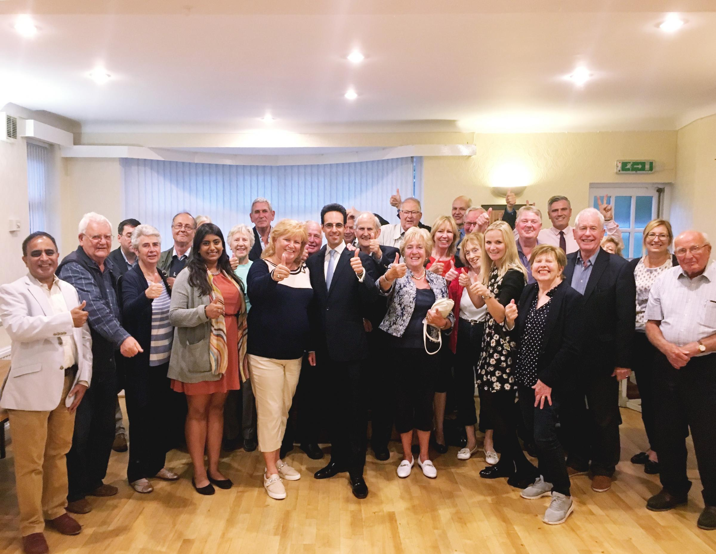 Conservative candidate George Jabbour, in the centre, pictured with supporters