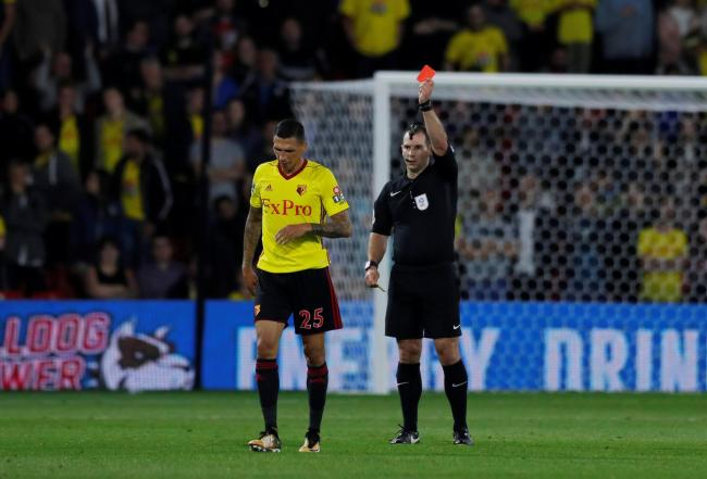 Jose Holebas was sent off on a disappointing night for the Hornets. Picture: Action Images