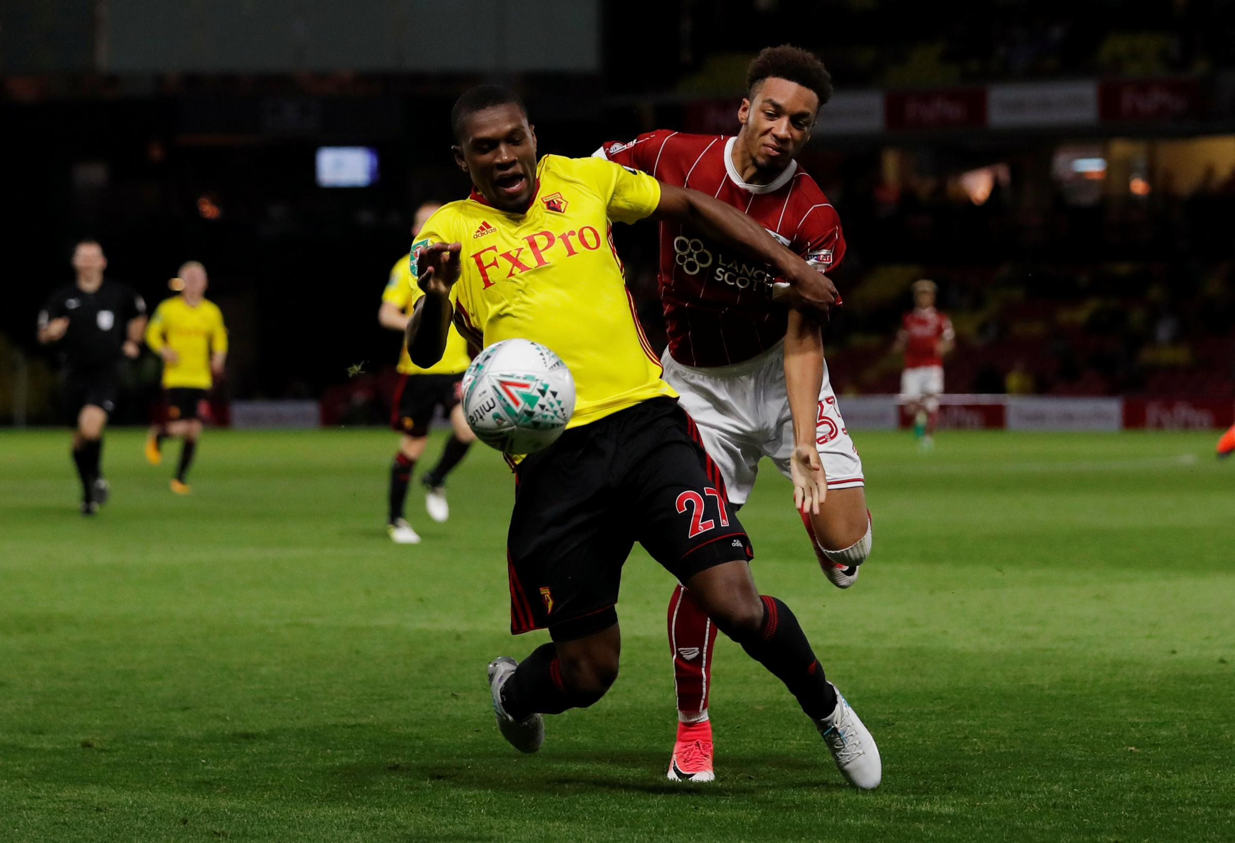 Christian Kabasele started the League Cup defeat to Bristol City, but has been superb in the Hornets' last two games. Picture: Action Images