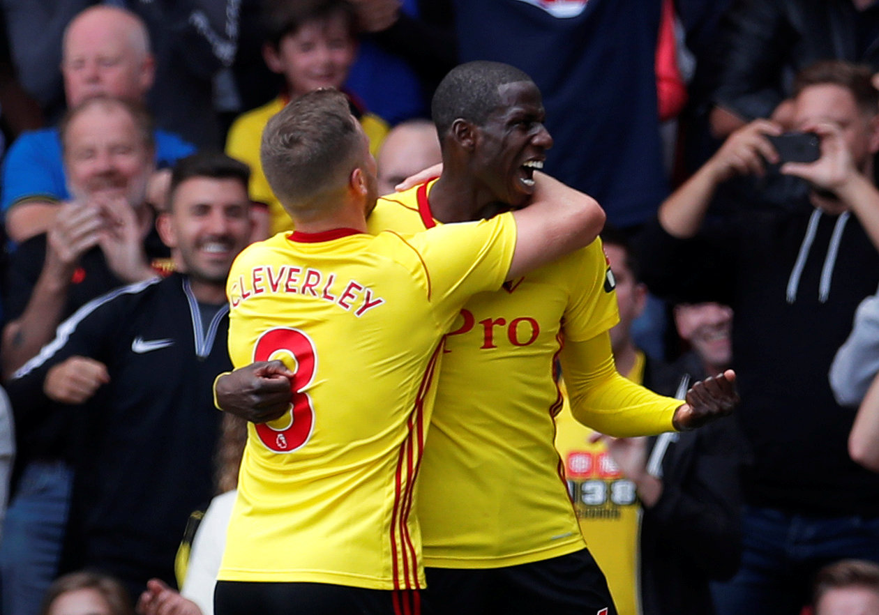 Abdoulaye Doucoure celebrates scoring for Watford earlier this season. Picture: Action Images