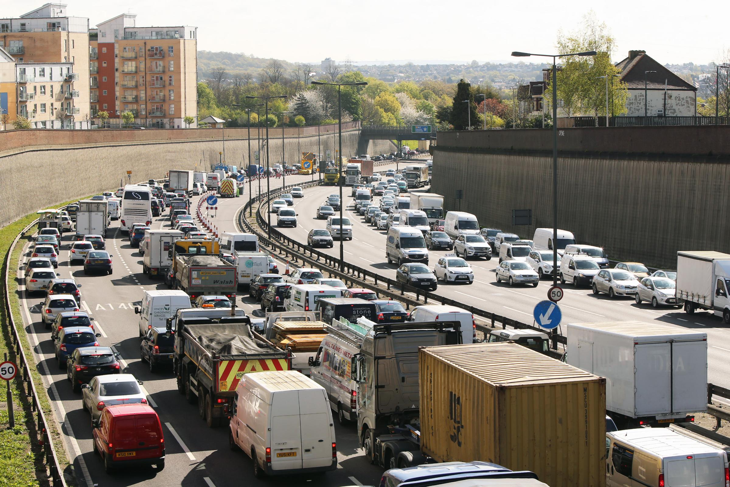 The North Circular has long queues in Brent Cross, Finchley, Friern Barnet and Southgate