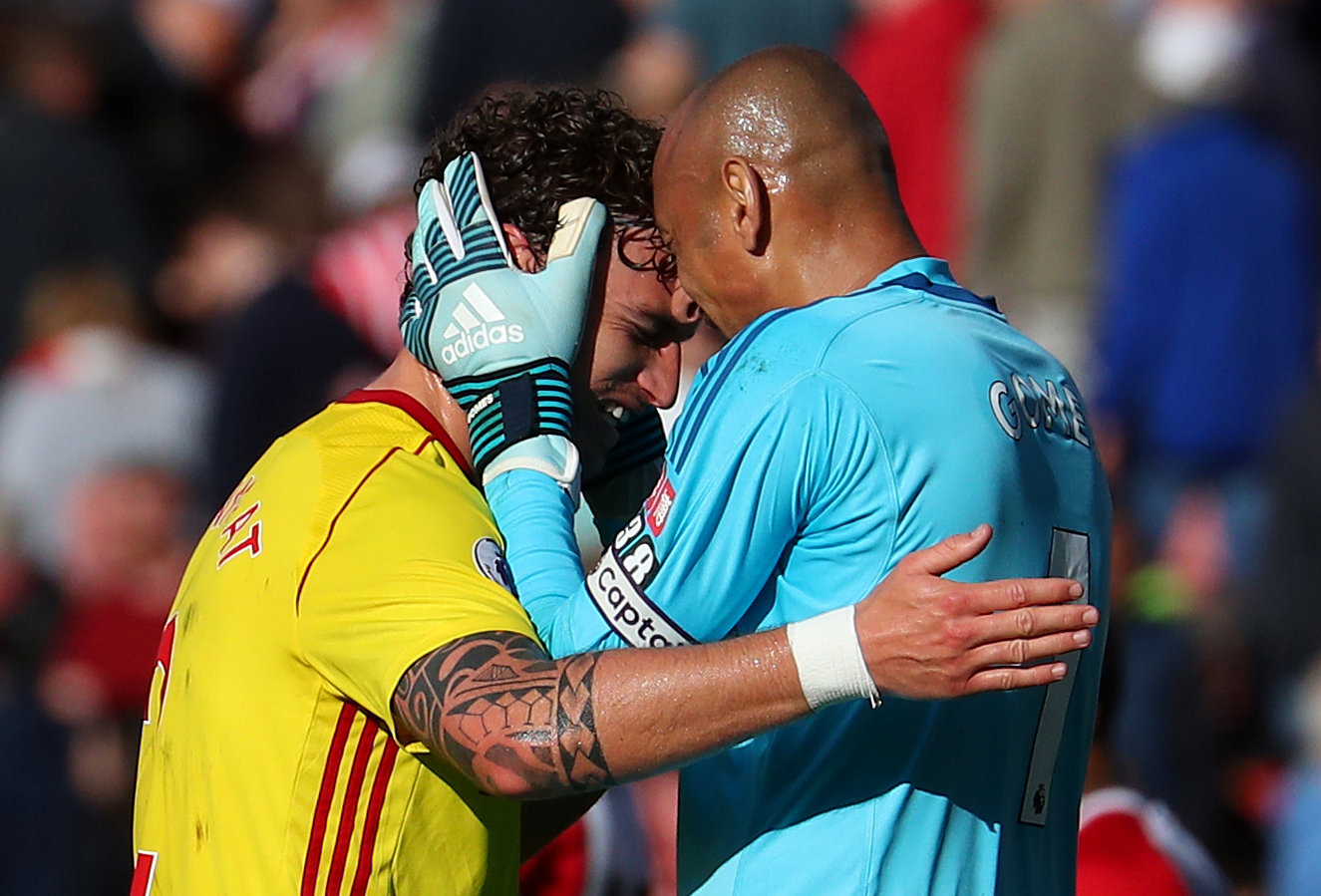 Hornets delight: Heurelho Gomes and Daryl Janmaat celebrate. Picture: Action Images