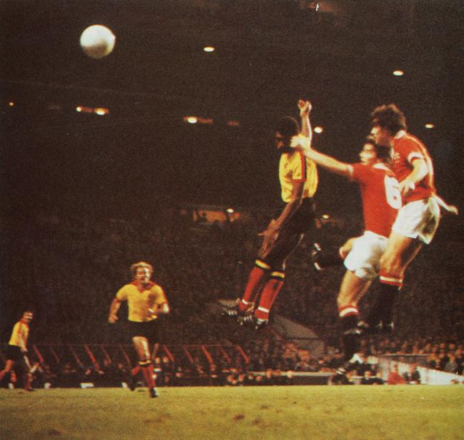 Luther Blissett leaps to head home in Watford's League Cup win at Old Trafford in 1978.