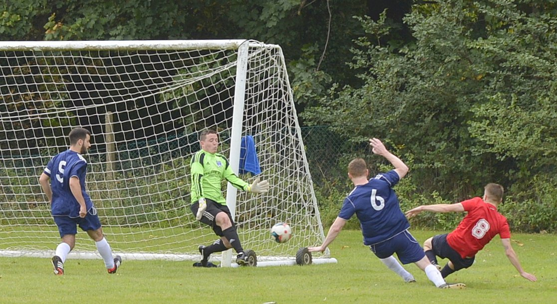 Penalty area action from Colne Valley's Division One draw with RD FC. Picture: Len Kerswill