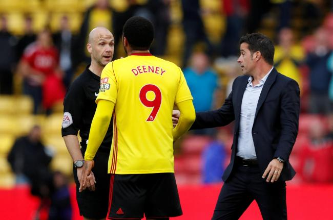 Marco Silva and Troy Deeney approach referee Anthony Taylor at full-time. Picture: Action Images