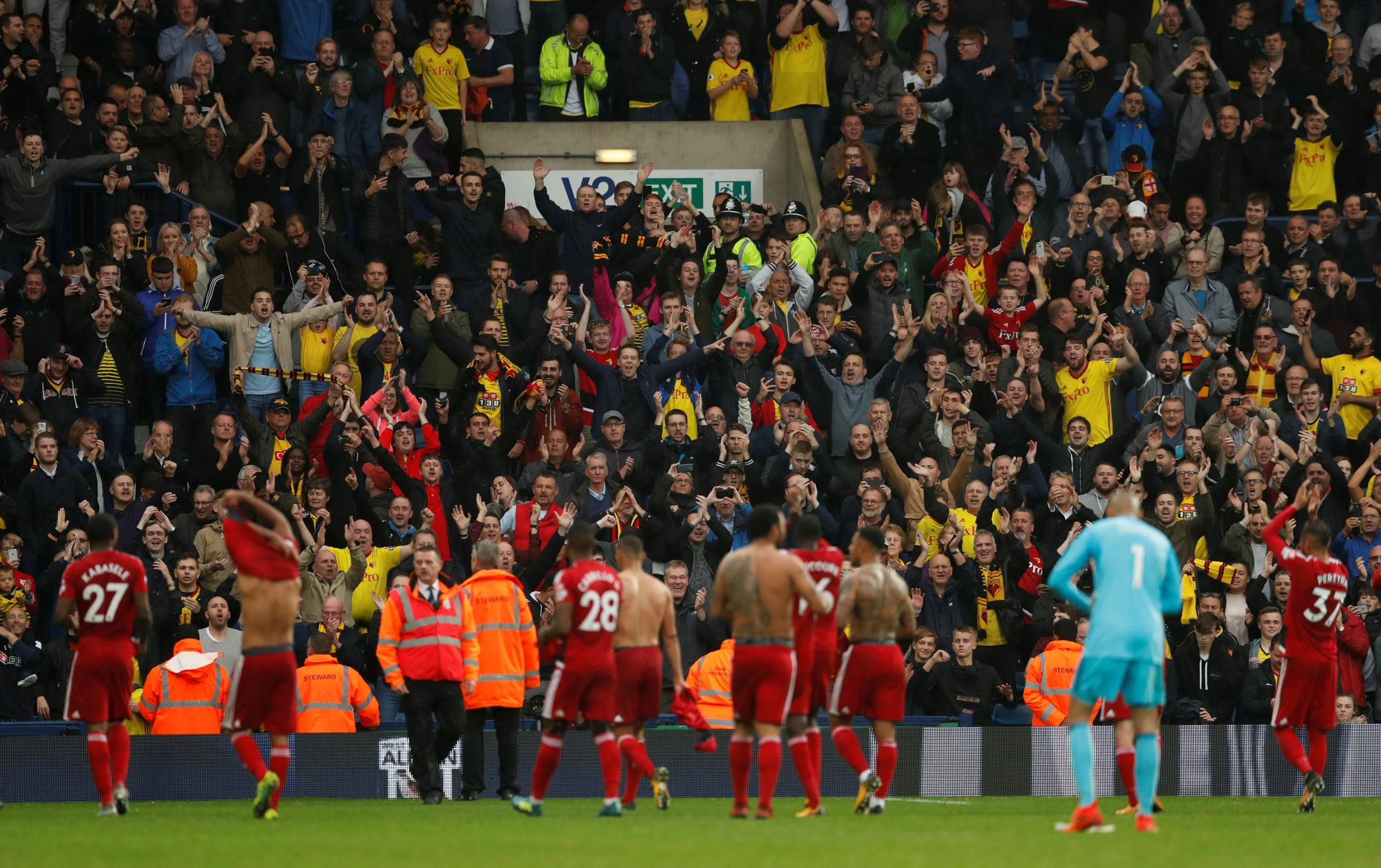 Scenes: the Watford players celebrate with their fans. Picture: Action Images