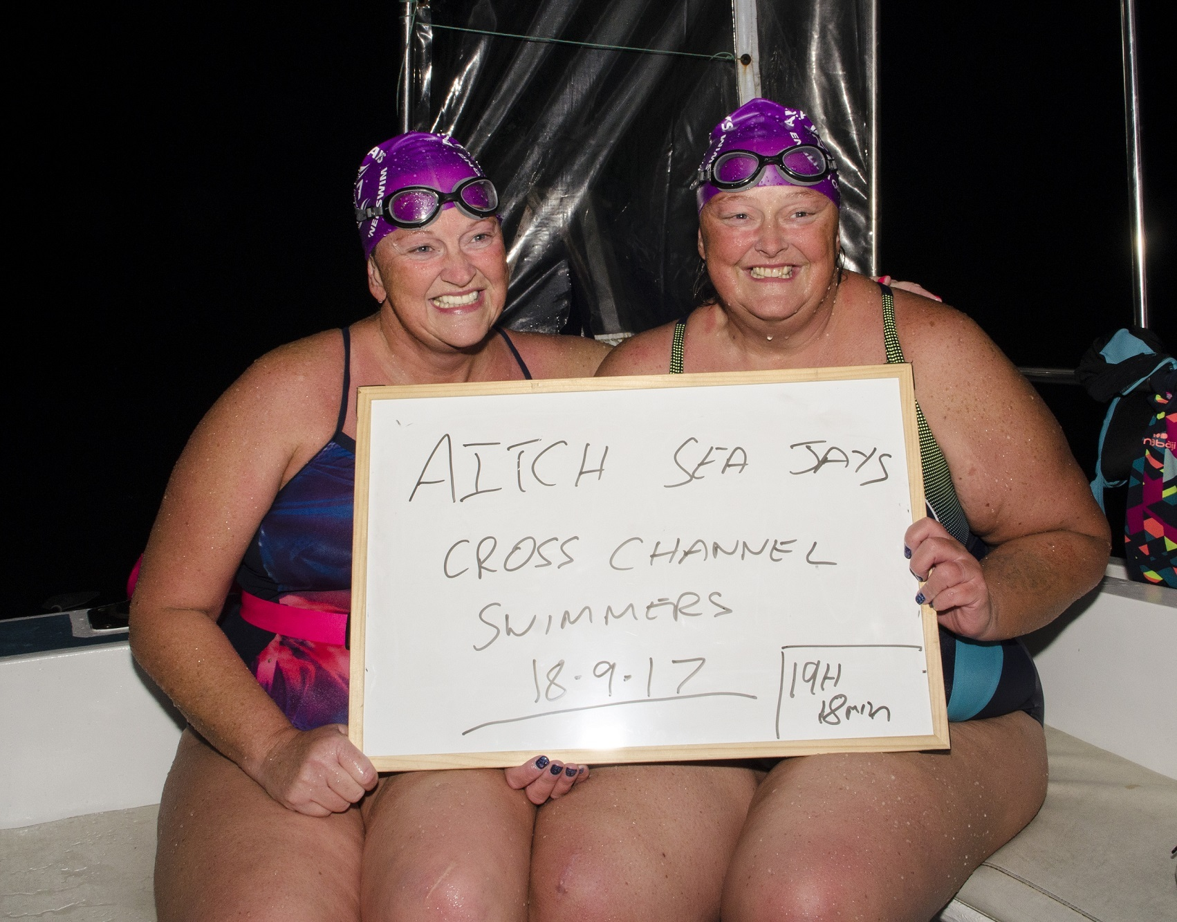 Sisters Helen Smith and Hayley Brant completed the channel swim in 19 hours and 19 minutes and have raised £7,500 towards life saving research