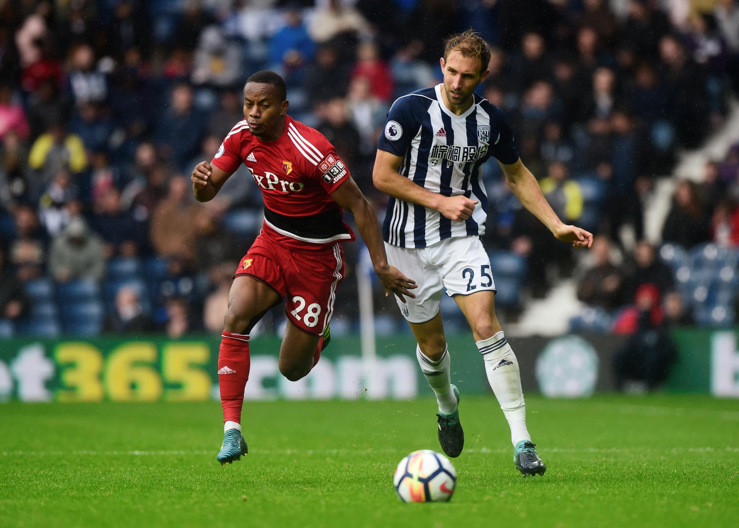 Andre Carrillo takes on Craig Dawson during last weekend's draw at The Hawthorns. Picture: Action Images