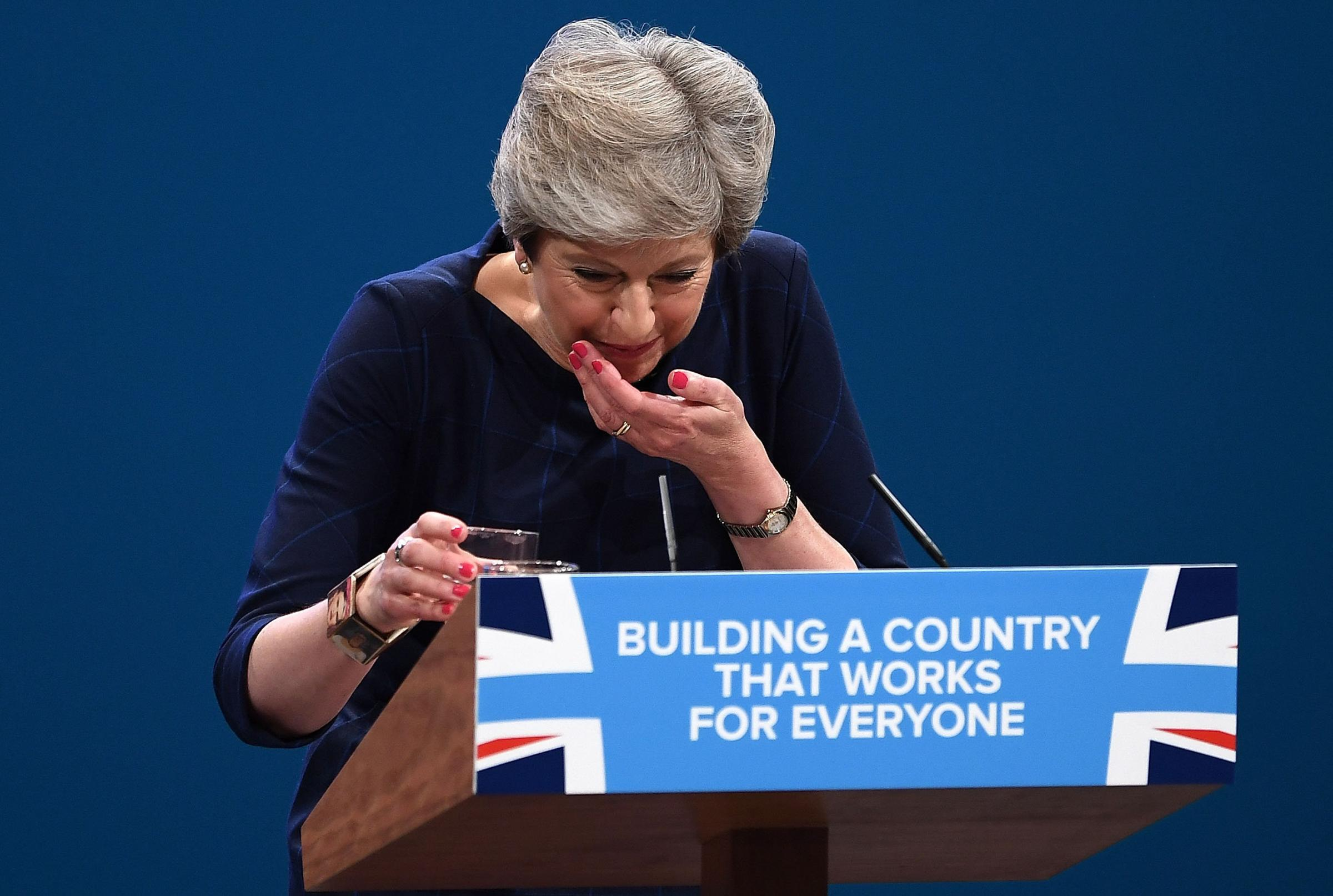 Prime Minister Theresa May spluttered through her Conservative Party conference speech