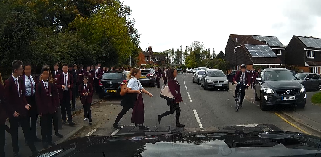 Jason Fields recorded the footage as he navigate the obstacle-ridden school run