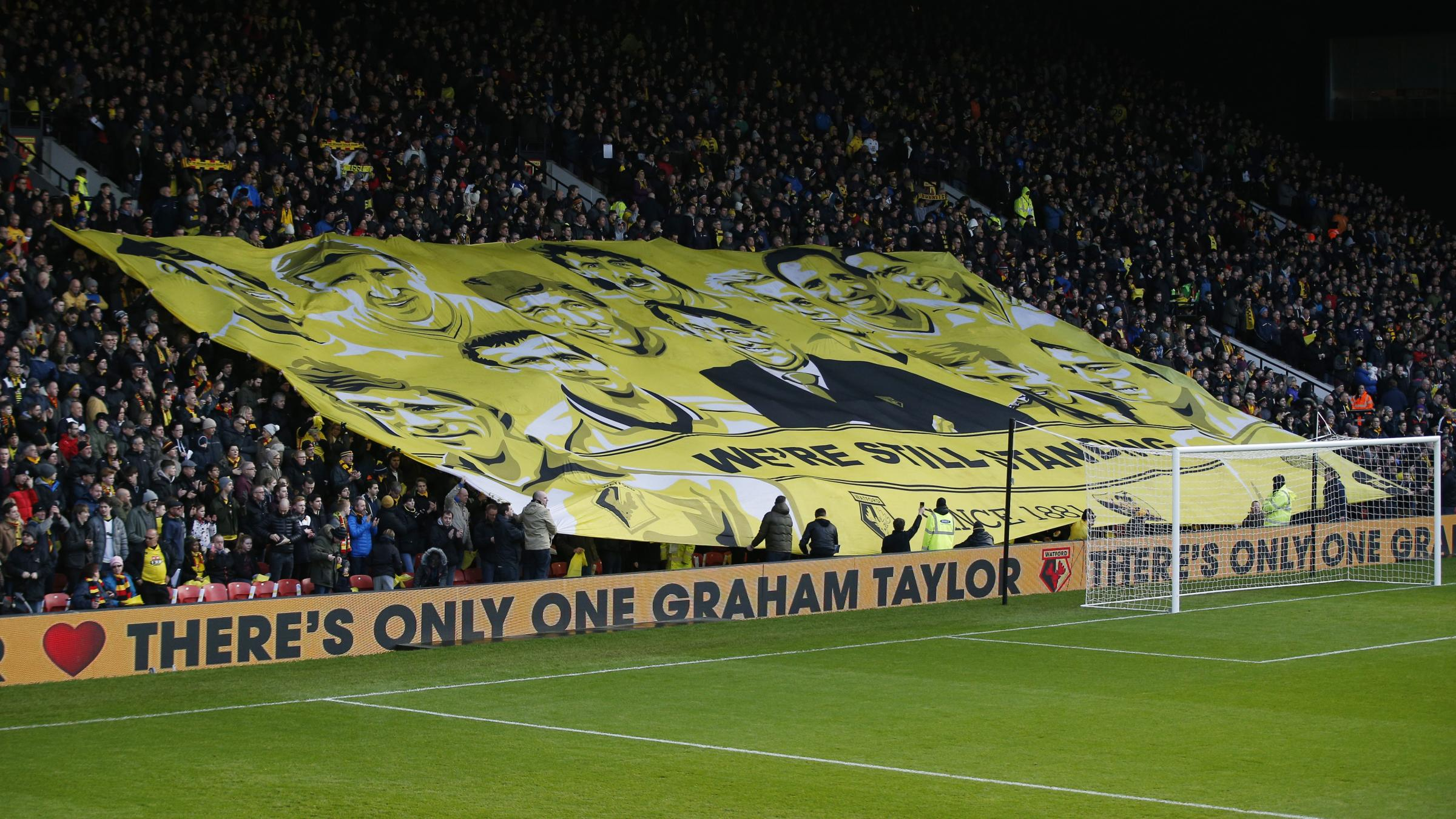The 1881's Watford legends banner. Picture: Action Images