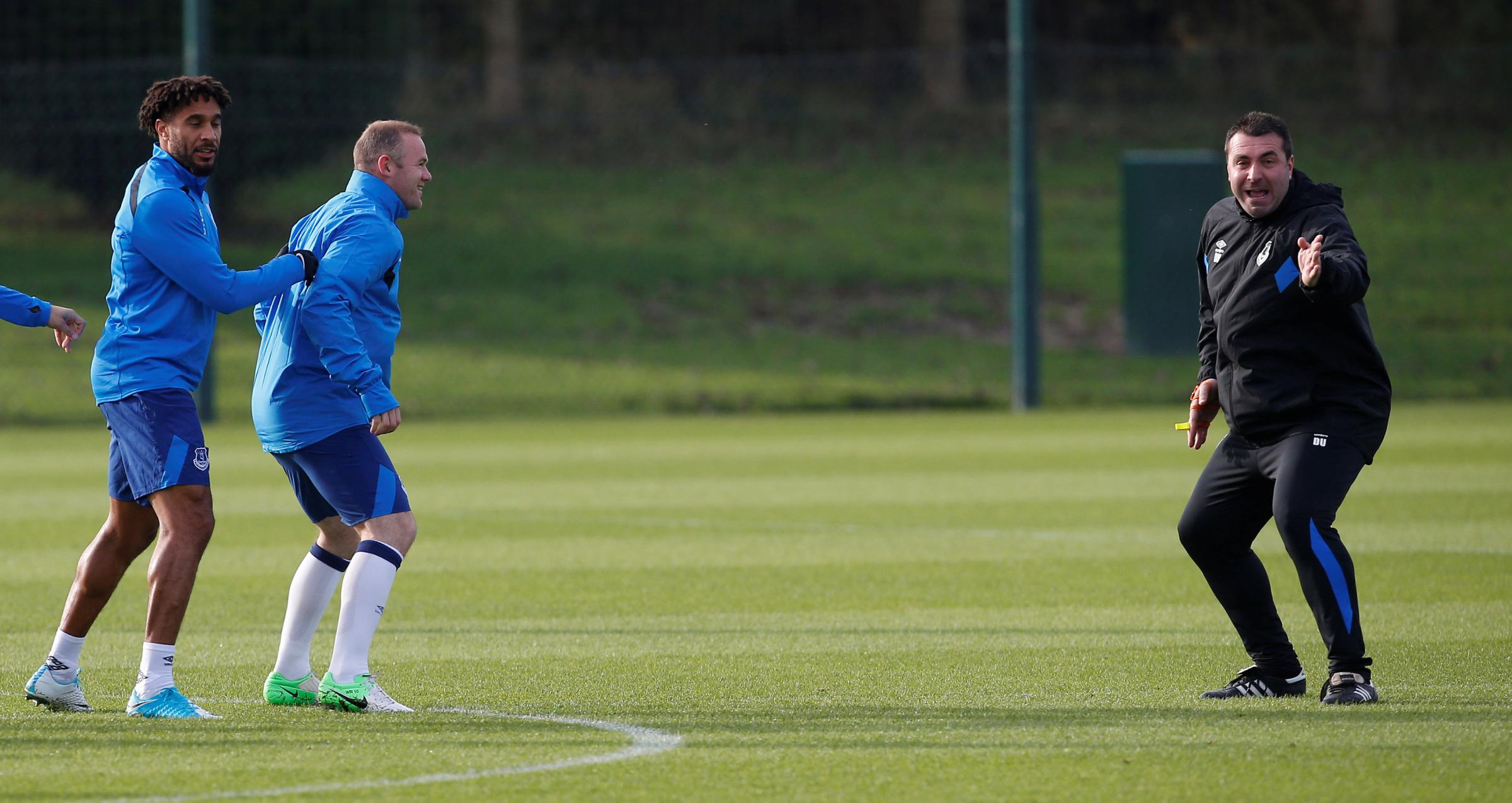 David Unsworth in Everton training with Wayne Rooney and Ashley Williams. Picture: Action Images