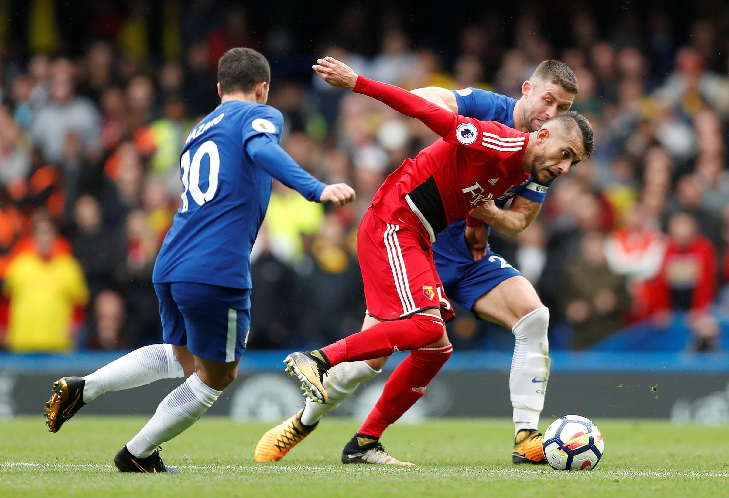 Roberto Pereyra went off injured after scoring at Chelsea a fortnight ago. Picture: Action Images