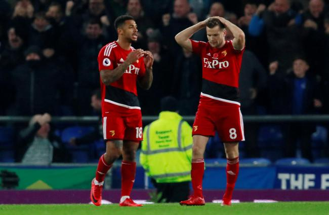 Tom Cleverley missed a late penalty as Watford let a two-goal lead slip in defeat at Goodison. Picture: Action Images
