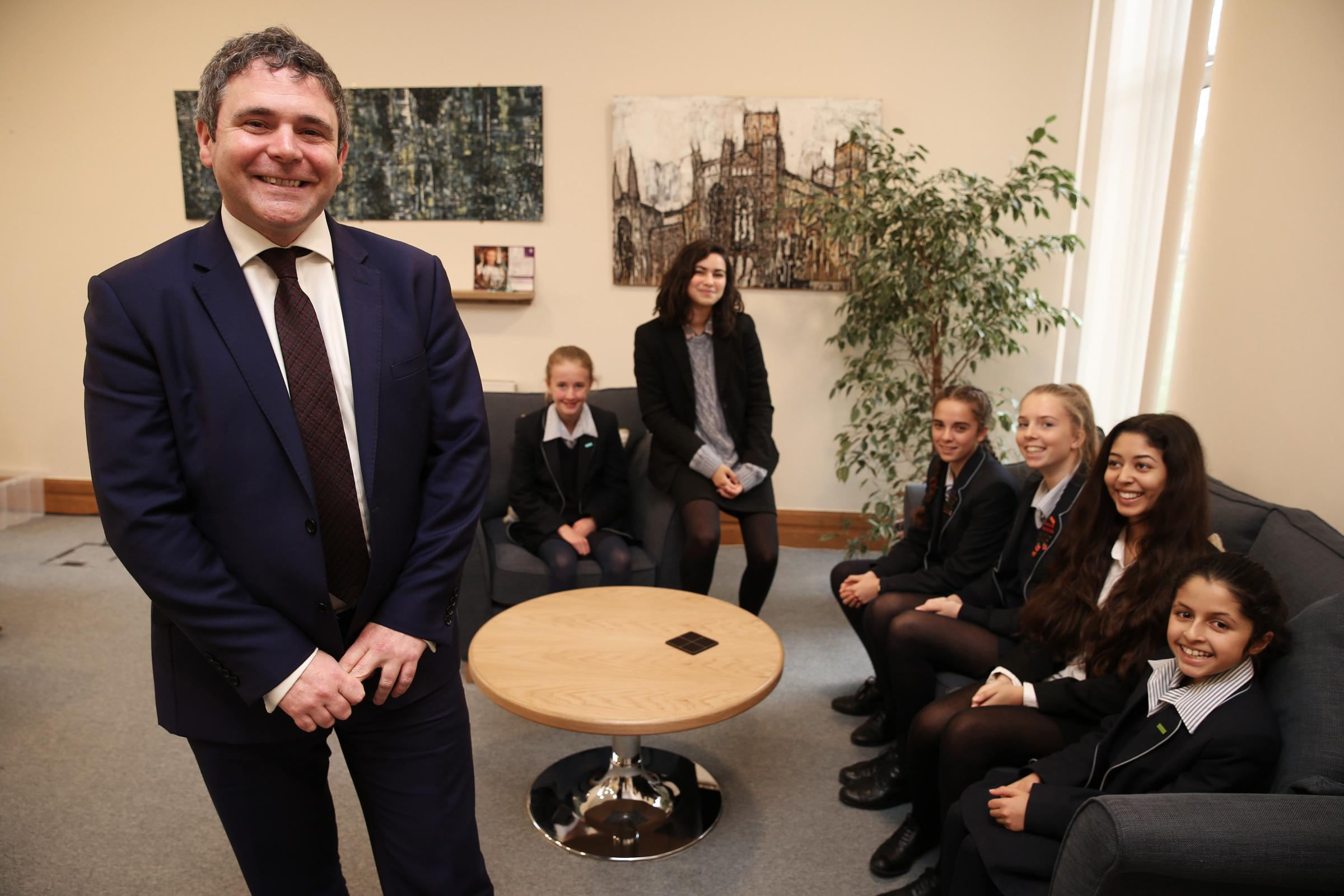 Headteacher Kevin Carson with pupils