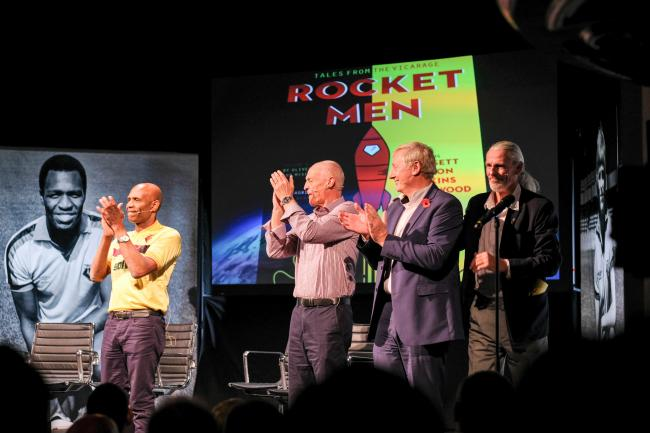 Mutual appreciation: Luther Blissett, Ian Bolton, Steve Sherwood and Ross Jenkins applaud the audience at the Palace Theatre. Picture: paulvincentphotography.net