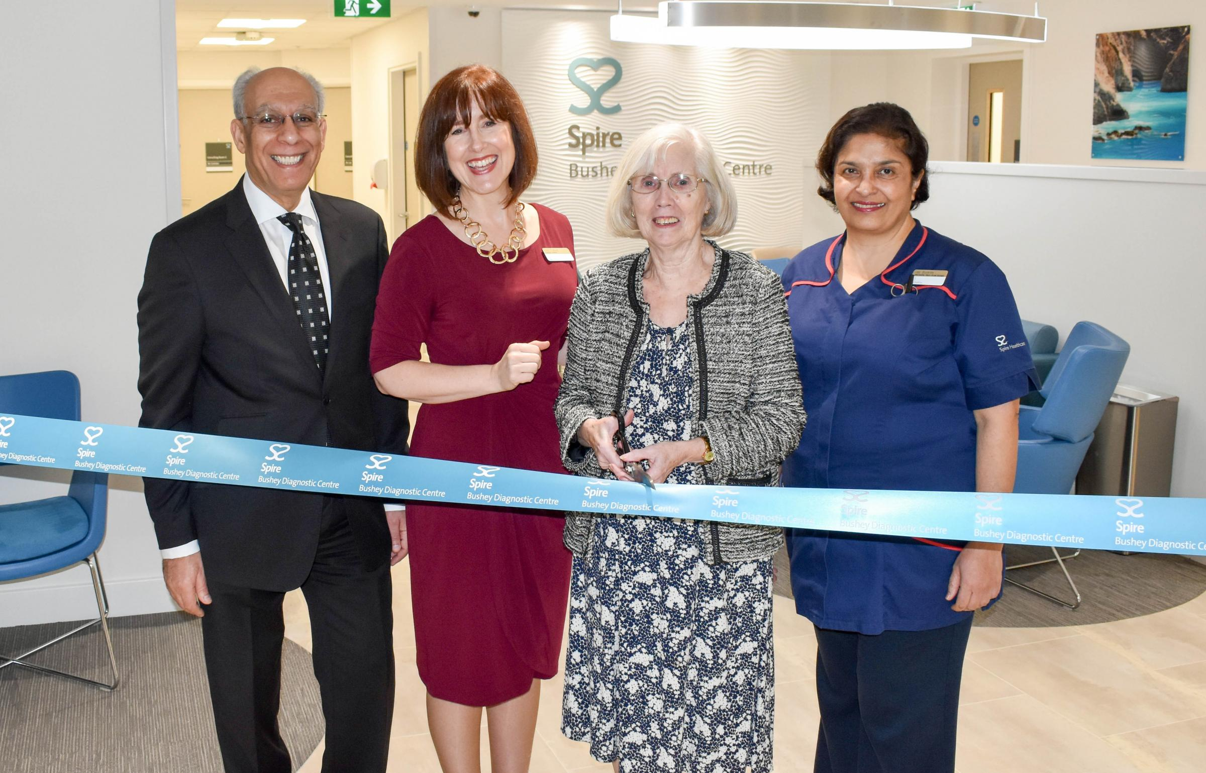 June Thompson, second right, with Consultant Dermatologist Dr Hady Bayoumi, Hospital Director  Lisa Trybus and Out-patient and Cardiac Manager Jay Buckley at the official opening