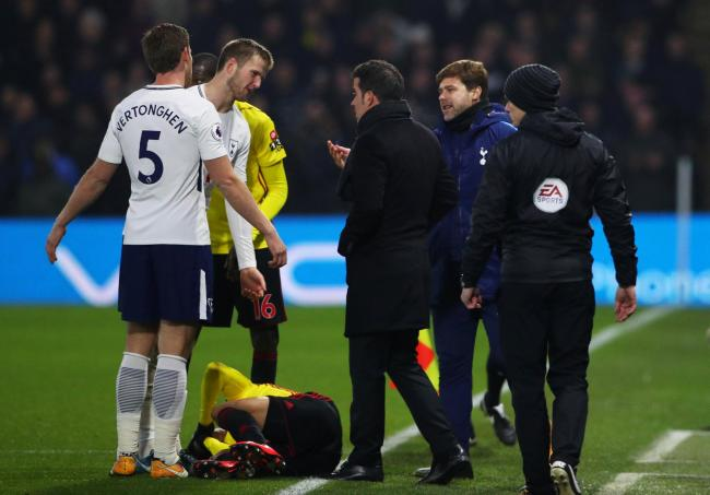 Marco Silva makes his point following Davinson Sanchez's red card challenge on Richarlison. Picture: Action Images