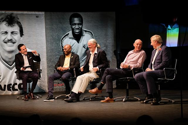Luther Blissett on stage at last month's Tales from the Vicarage show to launch Rocket Men. Picture: paulvincentphotography.net