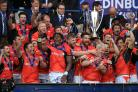 Saracens celebrate after the European Champions Cup Final at BT Murrayfield (Mike Egerton/PA)