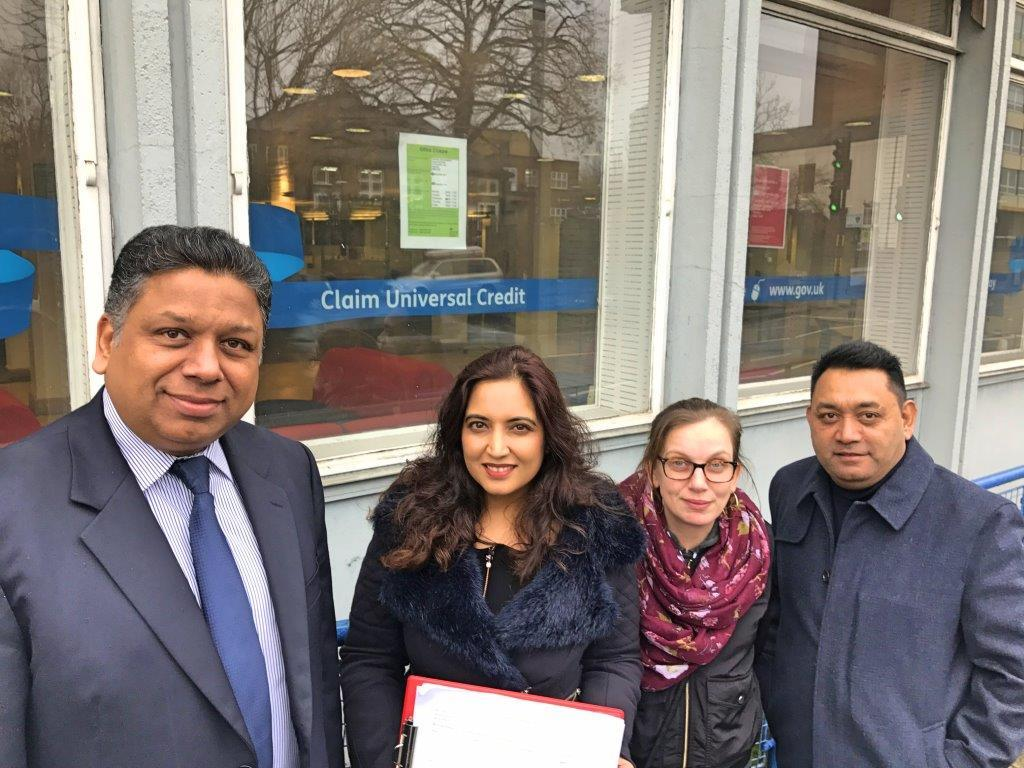 Cllr Ajay Maru, Cllr Kiran Ramchandani, Caren Duhig and Nish Patel outside the Jobcentre Plus in Edgware