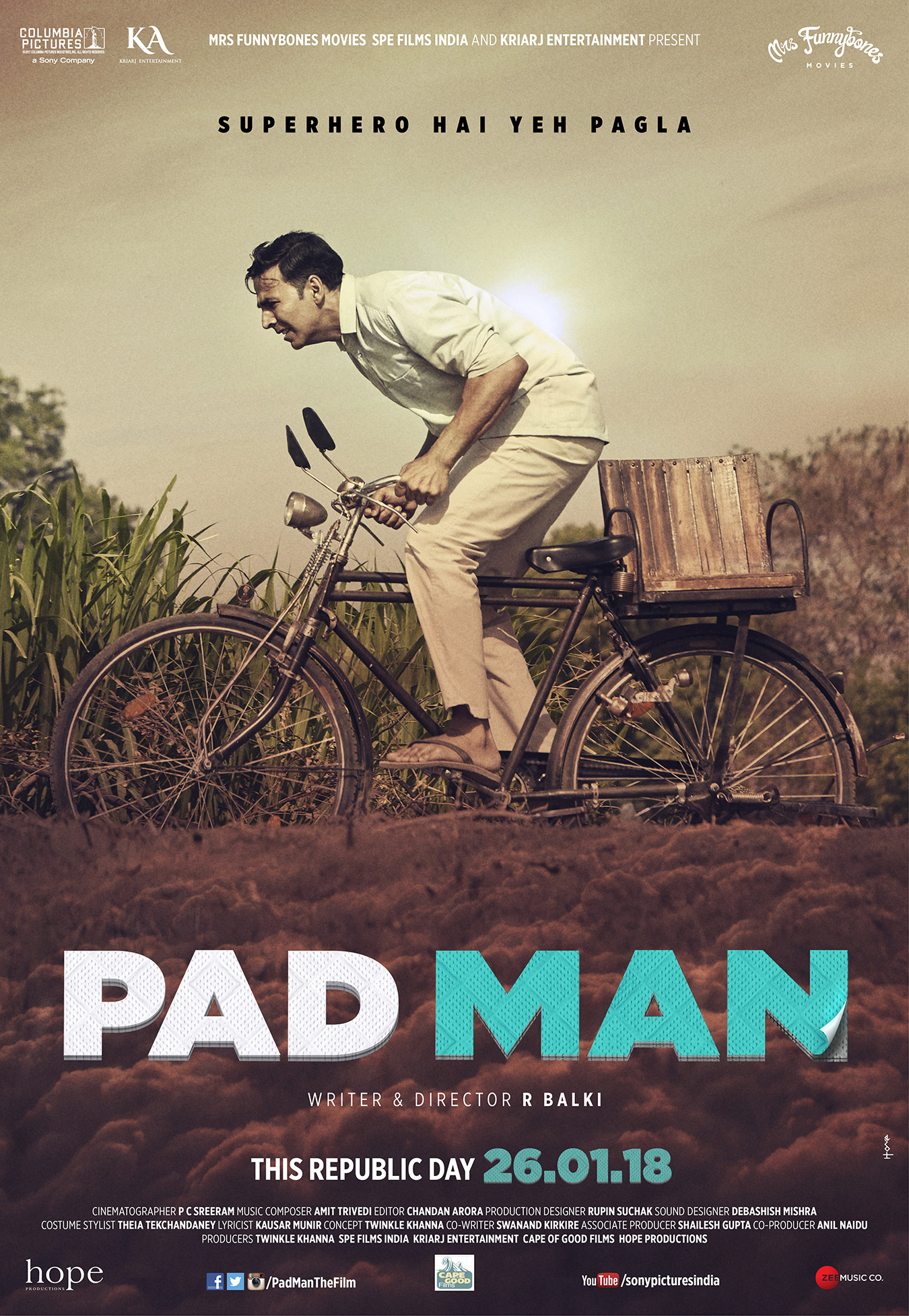NOT YOUR AVERAGE SUPERHERO FILM! HERE'S PRESENTING THE MOST PROGRESSIVE FAMILY ENTERTAINER 'PAD MAN', IN CINEMAS 25TH JANUARY 2018