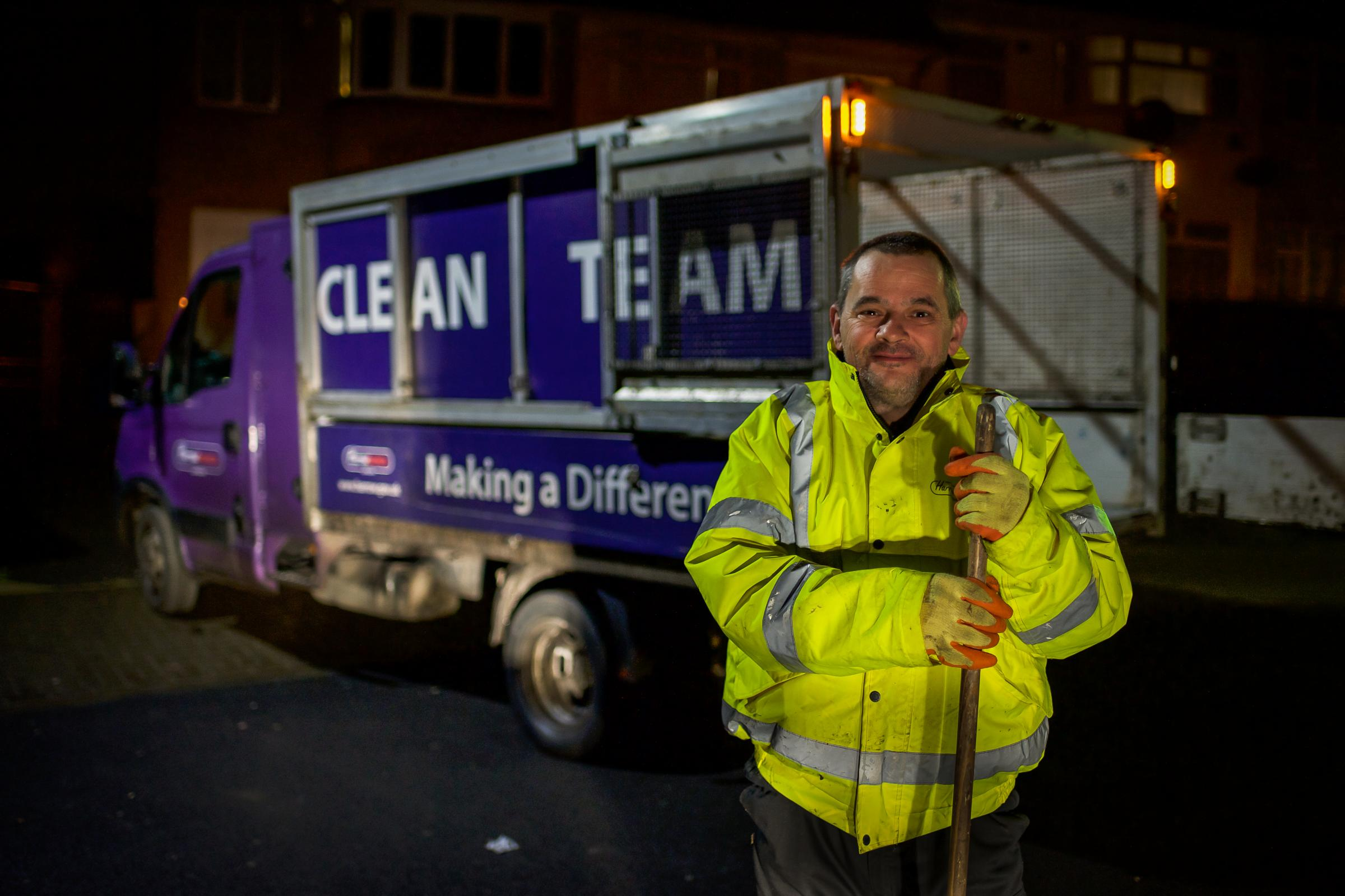 A member of Harrow Council's 'Night Rider' anti-fly-tipping team