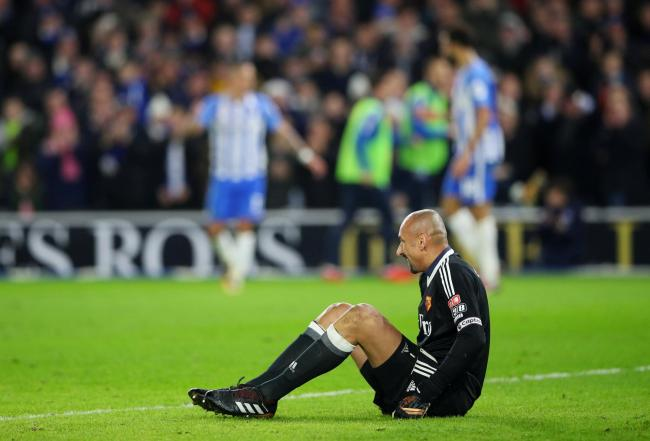 A dejected Heurelho Gomes after being beaten by Pascal Gross' shot. Picture: Action Images